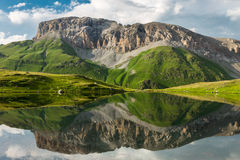 Beautiful mountain  and clouds reflected in the clear lake Royalty Free Stock Photography