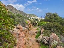 Beautiful mountain and coast scenery on Panarea hiking trails, Aeolian islands, Sicily, Italy