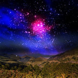 Beautiful mountain and galaxy Royalty Free Stock Image