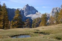 Beautiful mountain Jalovec. Mount Jalovec in alpine area Triglav national park Stock Photography