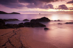 Ocean sunrise. On a beach - long exposure Stock Images