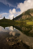Beautiful mountain lake with clear water from Obersdorf in Bavaria, Germany Stock Photo