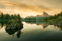 Beautiful mountain lake in the Dolomites Stock Photos
