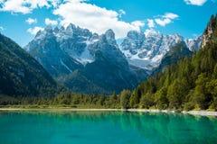 Beautiful mountain lake in Dolomites Royalty Free Stock Images