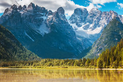 Beautiful mountain lake in Dolomites Stock Images