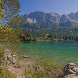 Beautiful mountain lake eibsee and zugspitze massif Stock Photos