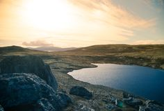A beautiful mountain lake high above the sea level in Norway. royalty free stock images