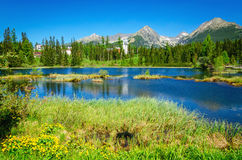 Beautiful mountain lake and high mountains peaks Stock Photos