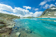 Beautiful mountain lake with ice in the alps of swiss Royalty Free Stock Images