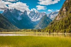 Beautiful mountain lake in Dolomites. Beautiful mountain lake Landro in Dolomites Alps, Italy Stock Images