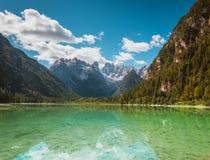 Beautiful mountain lake Landro in Dolomites Royalty Free Stock Photo
