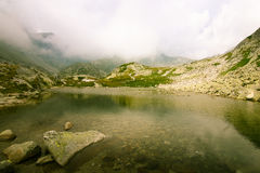 A beautiful mountain lake landscape. In Tatry, Slovakia stock photo