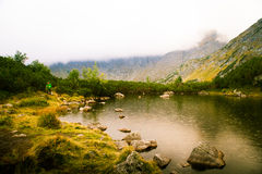 A beautiful mountain lake landscape. In Tatry, Slovakia royalty free stock photography