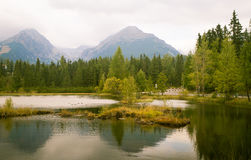 A beautiful mountain lake landscape. In Tatry, Slovakia royalty free stock image