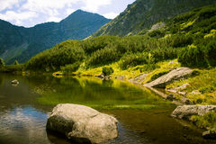 A beautiful mountain lake landscape. In Tatry, Slovakia stock photography