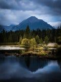 A beautiful mountain lake landscape in Tatry. Slovakia stock photos