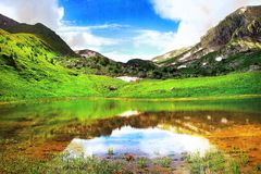 Beautiful mountain lake landscape Royalty Free Stock Photos