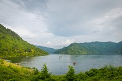 Beautiful mountain and lake in Nakhon Nayok, Thailand. stock photography