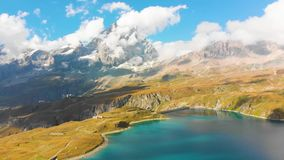 Beautiful mountain lake near Matterhorn stock footage