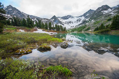 Beautiful mountain lake with reflection of nearest mountains Royalty Free Stock Images