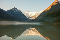 Beautiful mountain lake with reflection of nearest mountains Stock Photo