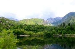 Beautiful mountain lake in spring royalty free stock photo
