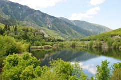 Beautiful mountain lake in spring stock image
