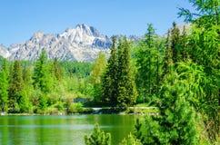 Beautiful mountain lake, Strbske Pleso High Tatras Royalty Free Stock Photo