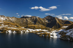 Beautiful mountain lake surrounded by snow Royalty Free Stock Images