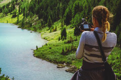 Beautiful mountain lake with turquoise Multinskoe Royalty Free Stock Images