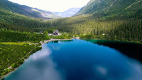 Beautiful mountain lake with waterfals Royalty Free Stock Photo