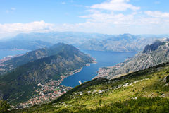 Beautiful mountain landscape above Kotor fjord. Great mountain landscape view above Kotor fjord from Lovcen National Park road in Montenegro Stock Image