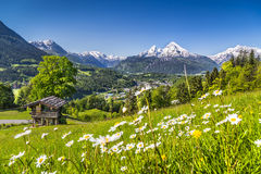 Beautiful mountain landscape in the Alps with chalet in springtime Royalty Free Stock Photography