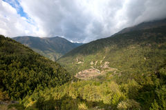 Beautiful mountain landscape in Andorra. Mountain and clouds Stock Images