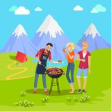 Beautiful Mountain Landscape and Barbecue Party. Vector illustration, joyful people eating on nature, barbecue steaks and fish, kebab and sausages Royalty Free Stock Photo