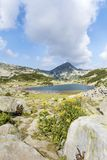 Beautiful Mountain Landscape  with Blue Lake. Summer river in Pirin mountain,Bulgaria.Hills with Pines Stock Photo