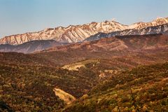 Beautiful mountain landscape and clear blue sky royalty free stock image