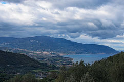 Beautiful mountain landscape. Cloudy day. View from sightseeing area near Sanctuary of the Madonna di Tindari. Tindari. Sicily Stock Photos