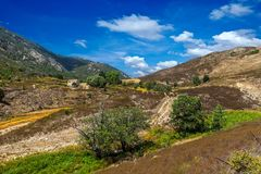 Mountain landscape of corsica. Beautiful mountain landscape of corsica with colorful macchia stock photo