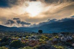 Beautiful mountain landscape of Cret, Greece. Beautiful mountain landscape near Kritsa Village, Katharo Plateau, Crete, Greece Royalty Free Stock Photography