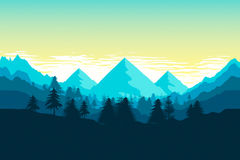 Beautiful mountain landscape. 2d illustration of a beautiful mountain landscape Royalty Free Stock Image