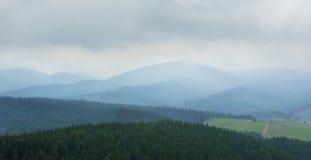 Beautiful mountain landscape in the fog Stock Photo