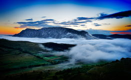 Beautiful mountain landscape in foggy morning in Romania Royalty Free Stock Photography