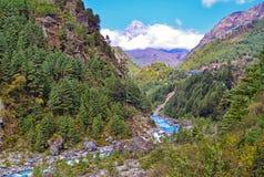 Beautiful mountain landscape. Himalayan region of Sagarmatha Nat Stock Photography