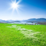 Beautiful mountain landscape with a lake stock photography