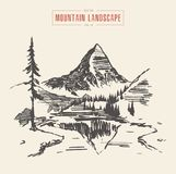 Mountain landscape lake spruces vector drawn. Beautiful mountain landscape with lake and spruces, vector illustration, hand drawn sketch Royalty Free Stock Image