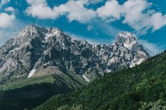 Beautiful mountain landscape Mount Ushba view from the village o. F Mazery Royalty Free Stock Images