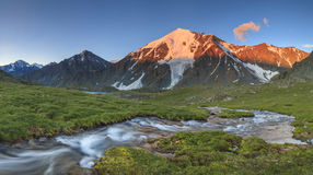 Beautiful mountain landscape with a mountain stream Stock Photos