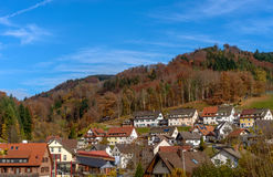 Beautiful mountain landscape Mountains in Germany. Small mountain village with original houses and cottages. Beautiful mountain landscape in Mountains in Royalty Free Stock Image