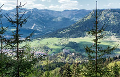 Beautiful mountain landscape. Beautiful mountains and Likava Castle - Slovakia royalty free stock photo